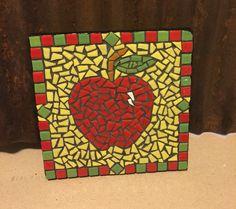 "6""X 6"" mosaic Apple trivet...ceramic by Rhonda Kretzer Studio Sold!"