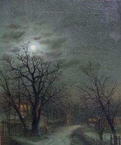 Walter Linsley Meegan (British, 1859-1944) Moonlit winter lane