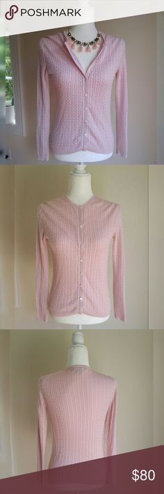 ✨ Brooks Brothers Pink Silk Cashmere Cardigan Silk/Cashmere blend cardigan in pale pink by Brooks Brothers. Extremely soft. Beautiful feminine classic look. Perfect for dress up or down.  ✨Condition is gently used. Slight discoloration on inside of shoulder and tiny spot on sleeve. Not at all noticable. See photos 4 and 5.   ✨✨ Check out my other listings for a bundle discount. Happy to answer any questions ☺☺ Brooks Brothers Sweaters Cardigans
