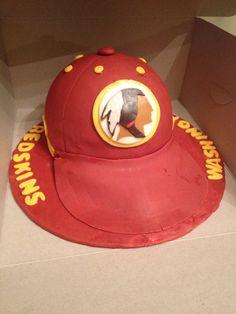 Redskin hat cake, Washington redskins cake, cap cake, hat cake Redskins Cake, Football Cakes, Cap Cake, Washington Redskins, How To Make Cake, Birthday Wishes, Cake Decorating, Hats, Recipes