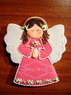 Galleta recoratorio Angelita rosa fuerte