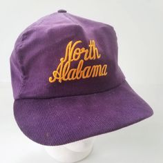 1cd84ad7a14 University of North Alabama Trucker Hat Corduroy Snapback Script Vtg Made  in the USA UNA Purple Gold