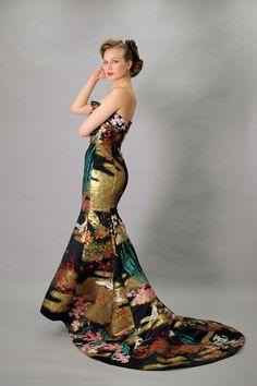 Kinkaku wedding dress made of kimonos by Aliansa. Black, teal and gold with red and pink details.  Stunning!