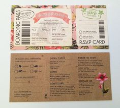 SAMPLE of Tropical Travel Boarding Pass by PaperWillowDesign