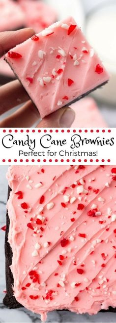 Candy Cane Brownies - Perfect Christmas Brownies - - Fudgy, chewy chocolate brownies topped with peppermint buttercream and crushed candy canes. This easy recipe makes these candy cane brownies the perfect Christmas brownies! Köstliche Desserts, Holiday Desserts, Holiday Baking, Holiday Treats, Holiday Recipes, Delicious Desserts, Christmas Dessert Recipes, Holiday Gifts, Italian Desserts