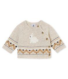 Baby boy & # s cardigan in knit jacquard Creamy Chine beige – Petit Bateau – camisola de malha – Jungen Baby Cardigan, Cardigan Bebe, Baby Pullover, Beige Cardigan, Baby Knitting Patterns, Knitting Stitches, Baby Boys, Kids Boys, Boy Babies