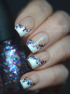 Not into long, fake nails, but the glitter is a stylish way to disguise uneven home French manicures.