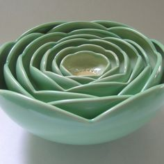 Whitney Smith  Gorgeous Pottery  Seven Nesting Ranunculus Rose Flower Ceramic Bowls