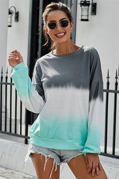 Color Block Tie Dye Sweatshirt Tie Dye Sweatshirt, Contemporary Fashion, Wholesale Clothing, Latest Fashion Trends, Love Fashion, Pullover, Clothes For Women, Sweatshirts, Casual