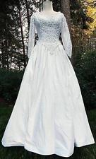 Mori Lee Wedding Dress Size XSmall 100% Silk Bustle Lace Rosette Beaded Gown