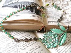 Hey, I found this really awesome Etsy listing at https://www.etsy.com/listing/185409913/green-assemblage-necklace-flower-roses