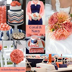 Coral and Navy Wedding Colors | #exclusivelyweddings  | All of our color stories can be found here: http://pinterest.com/exclusivelywed/wedding-color-stories/