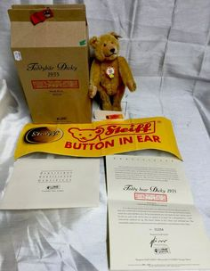 Steiff 407581  Dicky  Limited Ed. Teddy Bear With Box, Stand & Banner. MIB