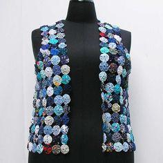 SALE! Blue yo yo vest, plus size yo yo vest, plus size vest waistcoat, suffolk puff vest, vintage fabric vest, au 20 uk 18 us 16 M L XL by Rethreading on Etsy