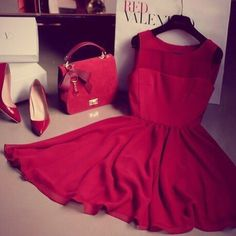Passion red Valentino dress for dating