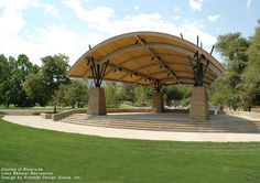 Custom Steel Shade Structure - Some projects require more… more imagination, more attention to detail, more skillful execution. Landscape Design Plans, City Landscape, Landscape Architecture, Outdoor Stage, Outdoor Venues, Amphitheater Architecture, Pavillion Design, Steel Structure Buildings, Landscaping