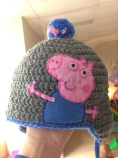 George crochet beanie, hat, Peppa Pig, wool, homemade