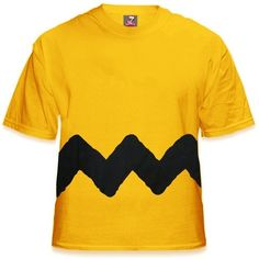 Zig Zag T-Shirt as worn by Charlie Brown featuring polyvore, fashion, clothing, tops, t-shirts, brown tops, brown tee, yellow tee, brown t shirt and yellow top
