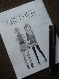 Shared by ♥♥♥. Find images and videos about art, black and white and friends on We Heart It - the app to get lost in what you love. Disney Drawings Sketches, Art Drawings Sketches Simple, Girl Drawing Sketches, Girly Drawings, Art Drawings Beautiful, Best Friend Sketches, Friends Sketch, Best Friend Drawings, Abstract Pencil Drawings
