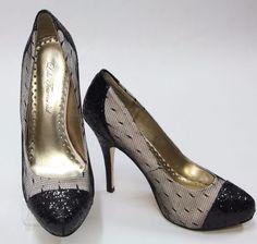 LULU TOWNSEND, Black/Cream Satin Lace Sequin Fashion Pumps Size 8M 450417 #LULUTownsend #Stilettos