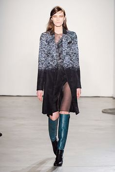 Two toned boots?  LOVE.  And that teal?  Double love.  #PedroLourenco #Paris #FashionWeek
