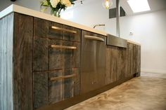 Modern Country Kitchen With Reclaimed Wood Island And