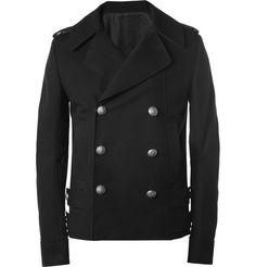Balmain Slim-Fit Leather-Trimmed Lightweight Cotton Peacoat | MR PORTER