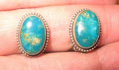 Vintage 1940's NAVAJO Handcrafted Silver Turquoise Native American Earrings #Vintage