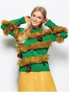 b40d1b71361 Ugly Christmas Sweater   Women s Green Christmas Tree Sweater   Ugly  Christmas Sweater party   Ugly Christmas Sweater for Women