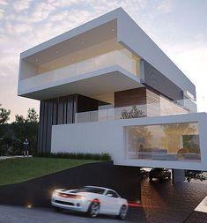 54 Inspiring Underground Parking Design Ideas For Minimalist - WOWOTD Modern Exterior House Designs, Modern House Facades, Dream House Exterior, Modern House Design, Exterior Design, Modern Buildings, Contemporary Design, Minimalist Architecture, Modern Architecture House