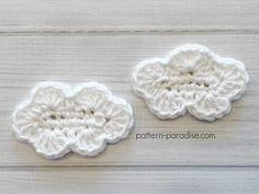 Free crochet pattern: Cloud Applique by Pattern Paradise Crochet Puff Flower, Bag Crochet, Crochet Unicorn, Crochet Bunny, Love Crochet, Crochet Crafts, Crochet Flowers, Crochet Projects, Crochet Elephant