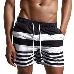 [Visit to Buy] 2017 Brand Board Shorts Men Beach Swimwear Swim Short Stripes Bermudas Man Boardshorts Male Sport Sweatpants Inside Mesh Liner #Advertisement