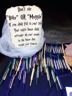 A Harry Potter spin on an old baby shower game!  I used shortened chop sticks…