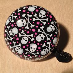 Tiny Skulls and Tiny Bones with pink dots bike bell   by SKULLUXE