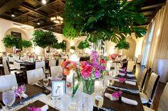 Tropical Indoor Reception    Photography: Nancy Cohn Photography   Read More:  http://www.insideweddings.com/weddings/sophisticated-beach-wedding-in-key-west-florida/360/