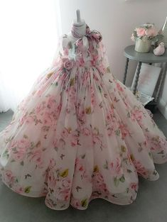 Rosy Gown by Anna Triant CoutureYou can find Dresses kids girl and more on our website.Rosy Gown by Anna Triant Couture Little Girl Gowns, Gowns For Girls, Frocks For Girls, Little Girl Dresses, Flower Girl Dresses, Long Frocks For Kids, Girls Pageant Dresses, Girls Frock Design, Baby Dress Design