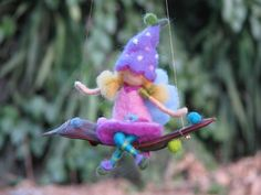Needle felted little flower fairy on a seed  by Made4uByMagic, $38.00