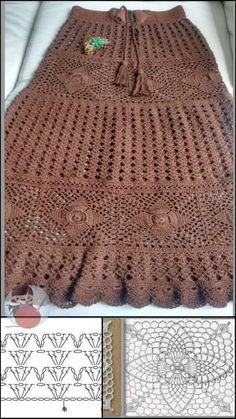 Crochet Skirt Pattern, Crochet Motif, Crochet Designs, Crochet Lace, Crochet Stitches, Crochet Patterns, Skirt Patterns, Coat Patterns, Blouse Patterns
