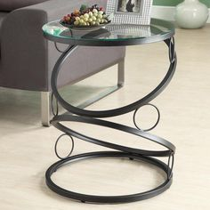 Monarch Round Matte Black Metal Accent Table with Tempered Glass Top | from hayneedle.com