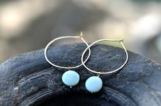 """14K Gold Filled Hoops Gold Thin 1"""" Hoops With Blue Peruvian Opal earring,1.5 Inch hoop size, 14k gold filled hoop earring by JewelrybyXinyiMartin on Etsy"""