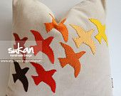 Sukan / Birds Linen Pillow Cover - 12x20 inch - Dirty Gray Beige Soft Brown Orange Red Blue Pink Green Blue. $78.00, via Etsy.