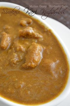 Sivakasi Style Mutton Kulambu Recipe - Step by Step Veg Recipes, Indian Food Recipes, Real Food Recipes, Great Recipes, Vegetarian Recipes, Indian Foods, Mutton Gravy, Kulambu Recipe, Mutton Curry Recipe