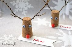 DIY reindeer place cards - Everyday Dishes & DIY