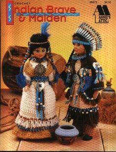 Annie's Attic Crochet Indian Brave and Maiden Pattern 8B072 instructions to fit a 15  doll (doll not included).     Authentic in every intricate detai