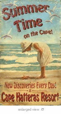 Cape Hatteras Vintage Poster ⚓ Beach Cottage Life ⚓ Coastal Living & Dreaming ⚓ Seaside