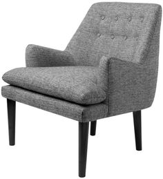 Accent Chair Tufted Back Grey Mid Century Polyester Wood Modern Furniture New #Doesnotapply #MidCentury #Chair #Modern #Furniture #Grey