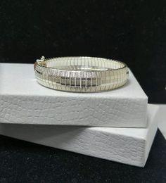 "Vintage Sterling Silver 925 - ITALY 12mm Omega Chain 18.6g - Bracelet 7.25"""