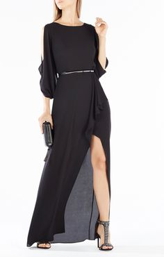 Rayah Sequin-Embroidered Draped-Back Gown