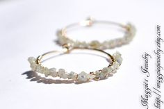 Diamond Earrings, Raw Diamond Hoops, Rough Diamond Hoop Earrings, Dainty, golden diamonds, 14k gold filled