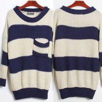 Oversized Stripe Knit Sweater
